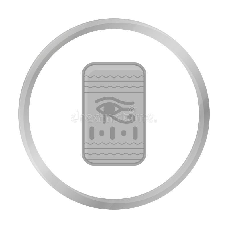 Öga av den Horus symbolen i monokrom stil som isoleras på vit bakgrund Forntida Egypten symbol stock illustrationer