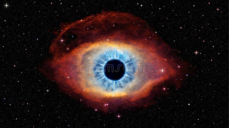 Öga av guden i nebulosaspiral stock illustrationer