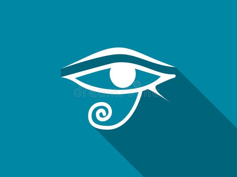 Öga av Horus med en lång skugga vektor royaltyfri illustrationer