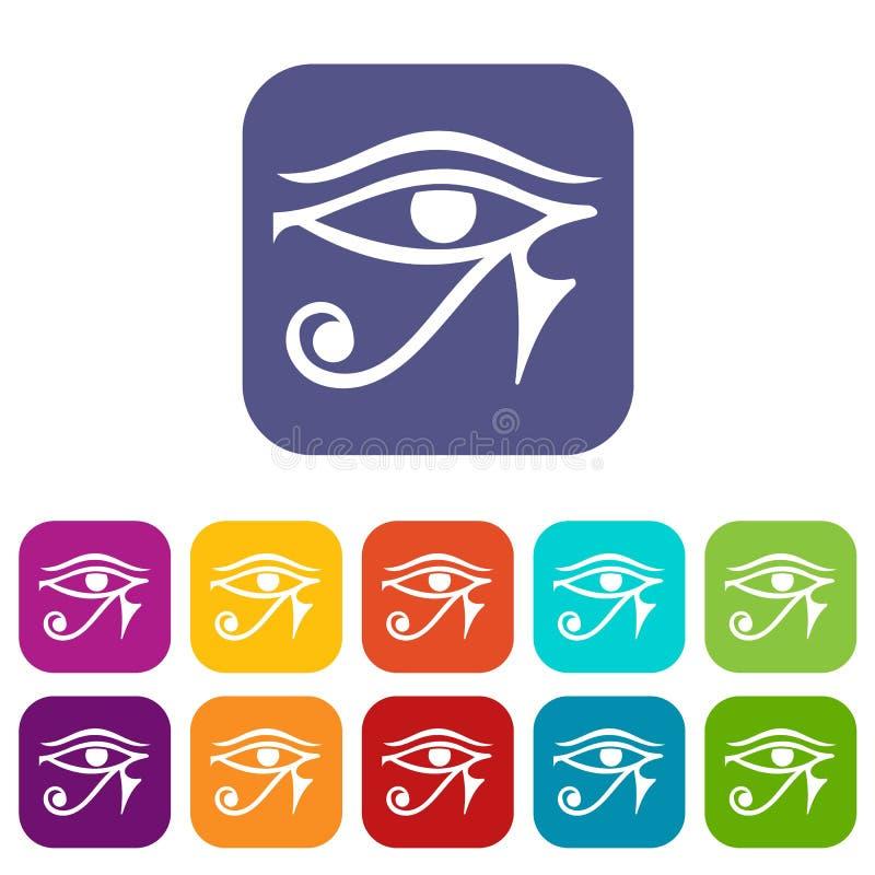 Öga av lägenheten för uppsättning för Horus Egypten gudsymboler stock illustrationer