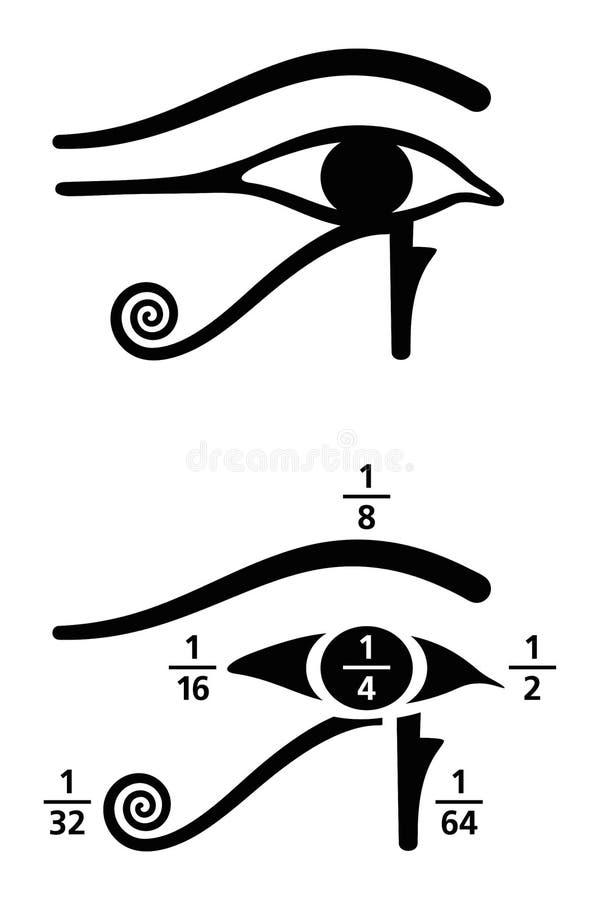 Öga av svartvita Horus bråkdelvärden royaltyfri illustrationer