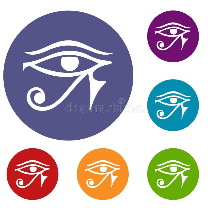 Öga av uppsättningen för Horus Egypten gudsymboler stock illustrationer