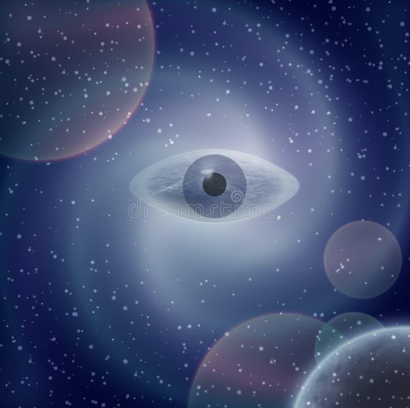 Öga i himlen vektor illustrationer