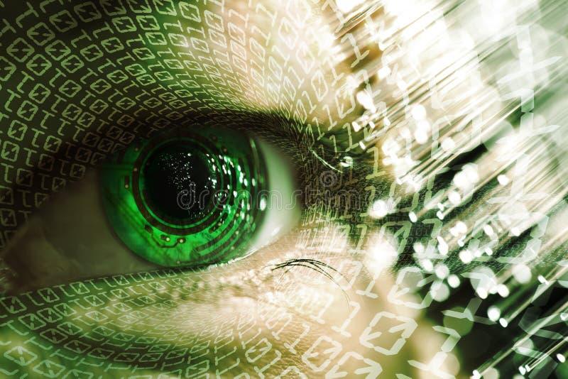 Öga och elektronisk strömkrets royaltyfri illustrationer