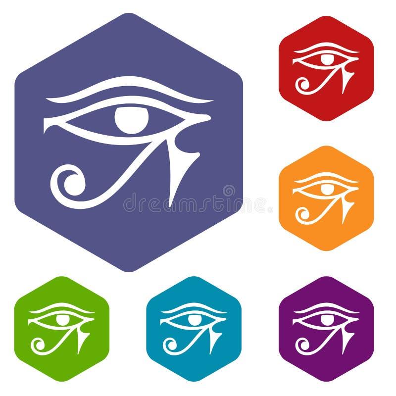 Ögat av Horus Egypten gudsymboler ställde in sexhörning stock illustrationer