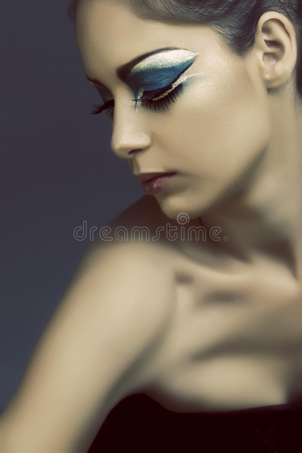 ögat gör turkos upp kvinna arkivfoto