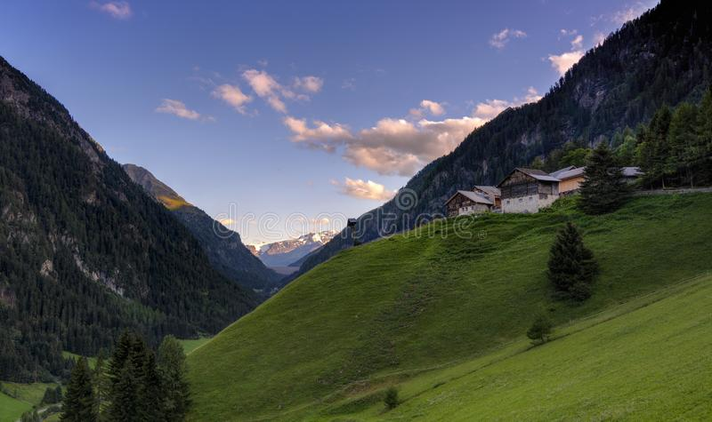 The Ögg Hof 221, ancient farm and now bed and breakast. In the Kaunertal valley, landscape toward the Kaunertal glacier stock photo
