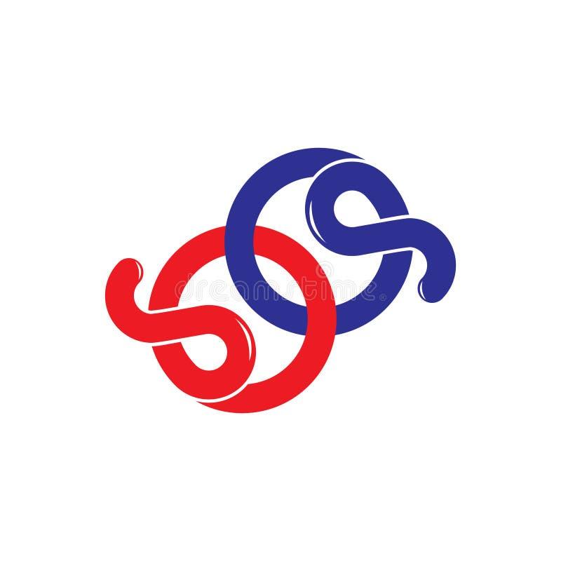 Öglan för sp för den abstrakta bokstaven buktar den enkla linjen logovektor royaltyfri illustrationer