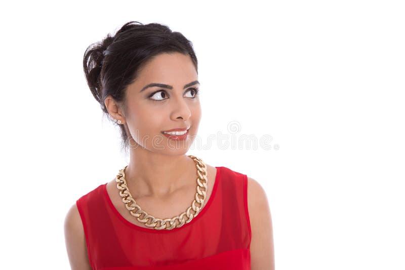 Ögon av en härlig isolerad indisk kvinna som från sidan ser arkivfoto