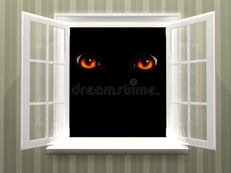 Ögon av monstret i öppet fönster royaltyfri illustrationer