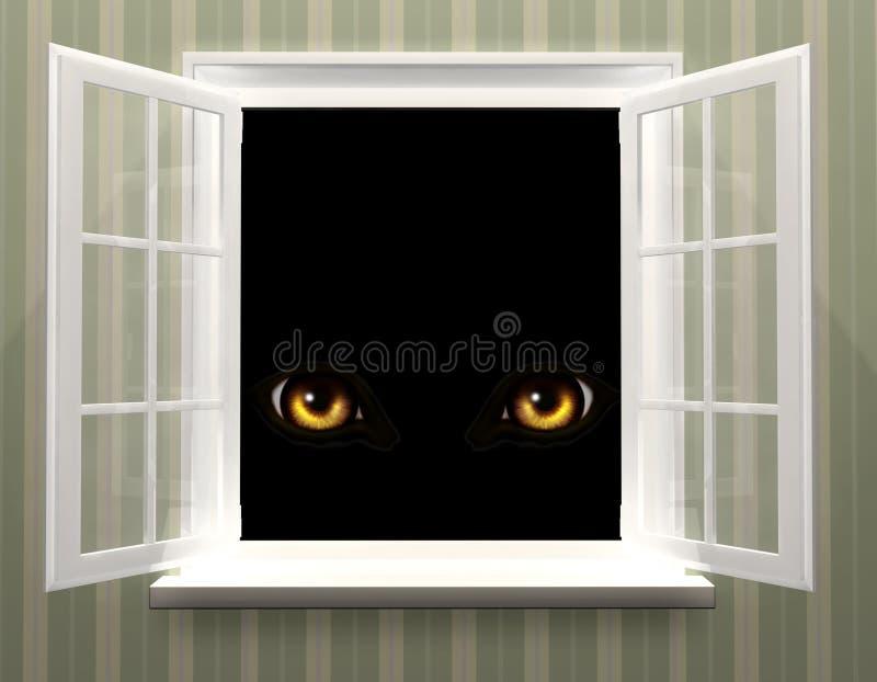 Ögon av monstret i öppet fönster vektor illustrationer