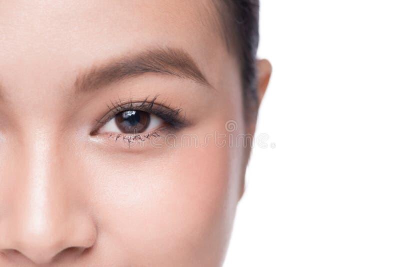 ögon Closeupen av den härliga asiatiska kvinnan med bruna ögon utgör skugga royaltyfri fotografi
