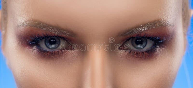 Ögon för grå färger för flicka för Closeupfoto härliga background card congratulation invitation afton royaltyfri foto