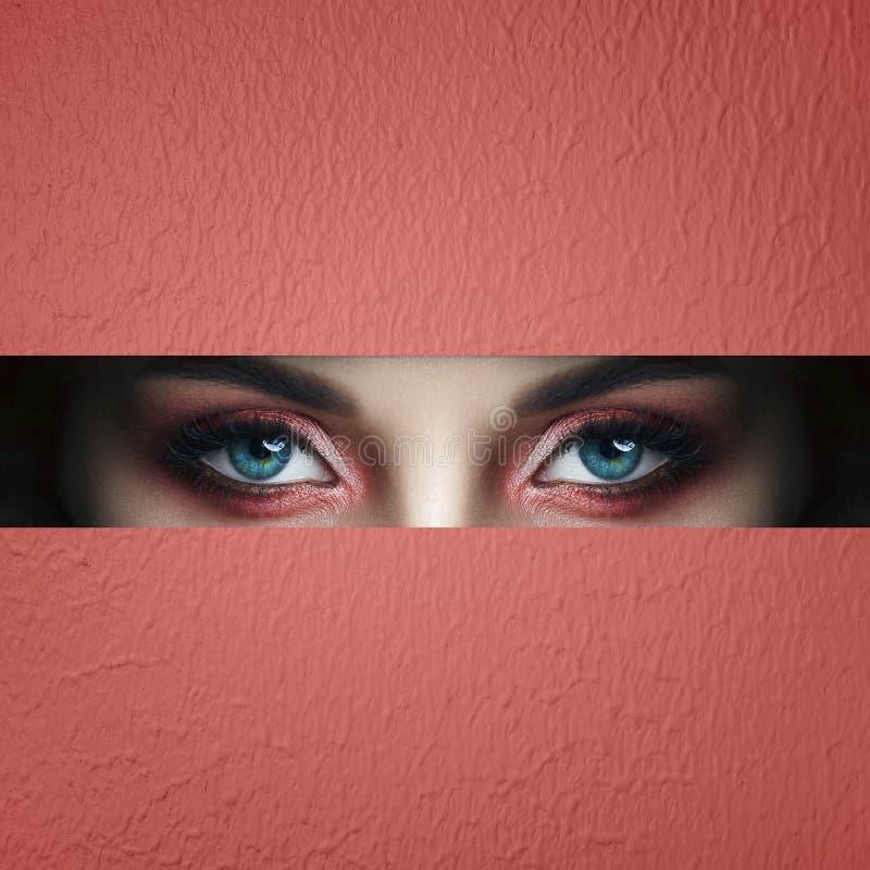 Ögon för makeup för skönhetframsida röda av en ung flicka i ett skuret upp hål av rosa rött papper Kvinna med röd glödande skugga arkivbild