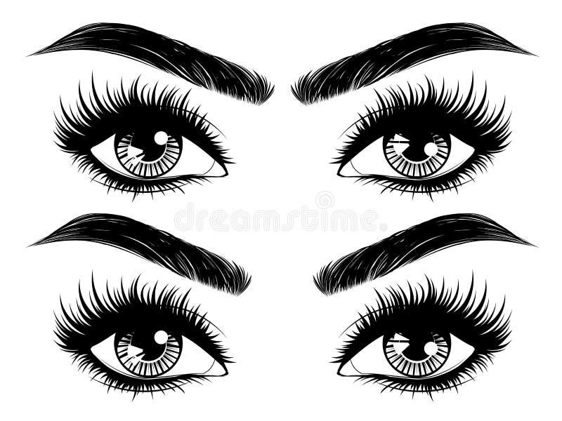 Ögon med långa ögonfrans och krön vektor illustrationer