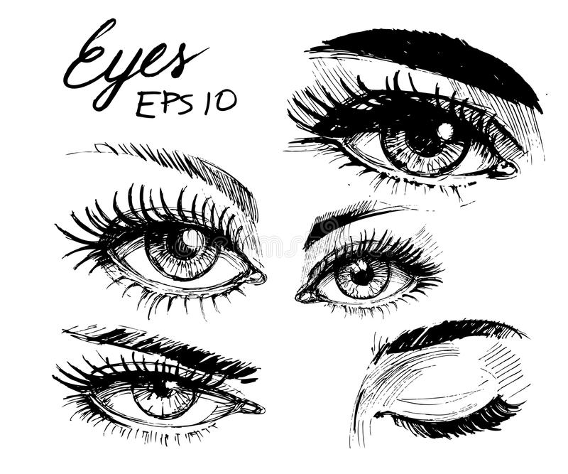 Ögon skissar arkivbild