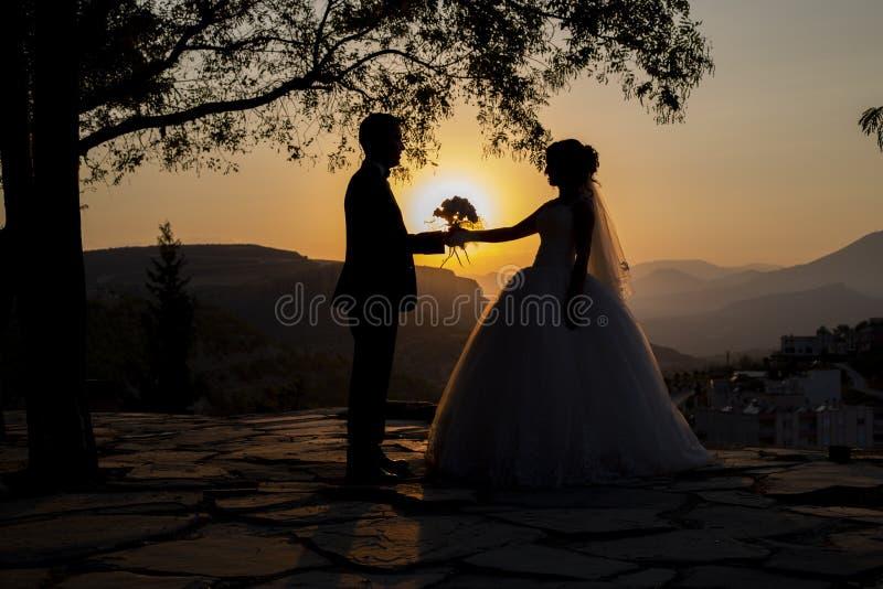 Ögonblick av bruden och brudgummen på solnedgången royaltyfria bilder