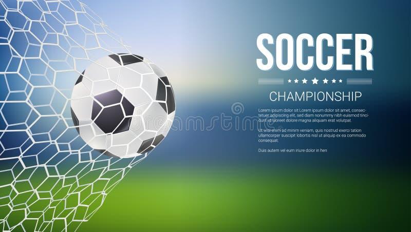 Ögonblick för mål för match för fotbolllek med bollen i det netto, ingrepp Fotbollboll i mål Baner för fotboll- eller fotbollleka stock illustrationer