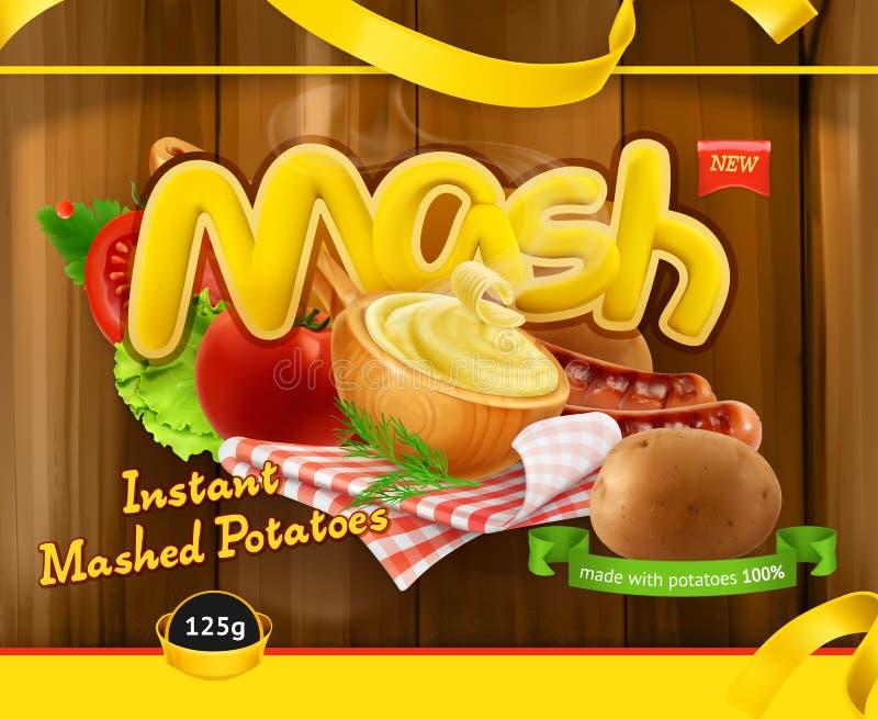 Ögonblick mosade potatisar Design som förpackar, vektormall vektor illustrationer
