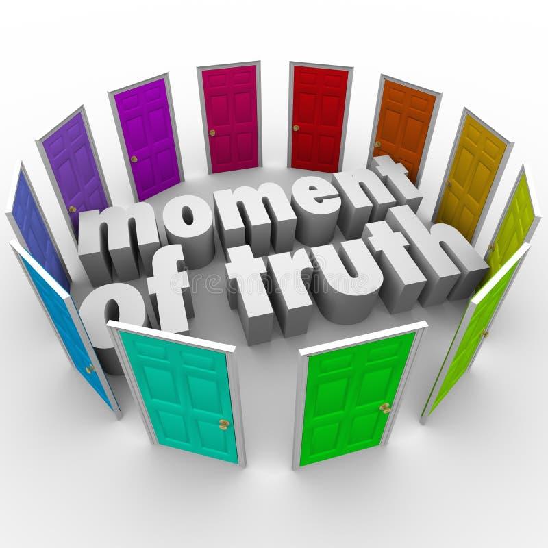 Ögonblicket av sanning väljer olika alternativ för den bästa banan stock illustrationer