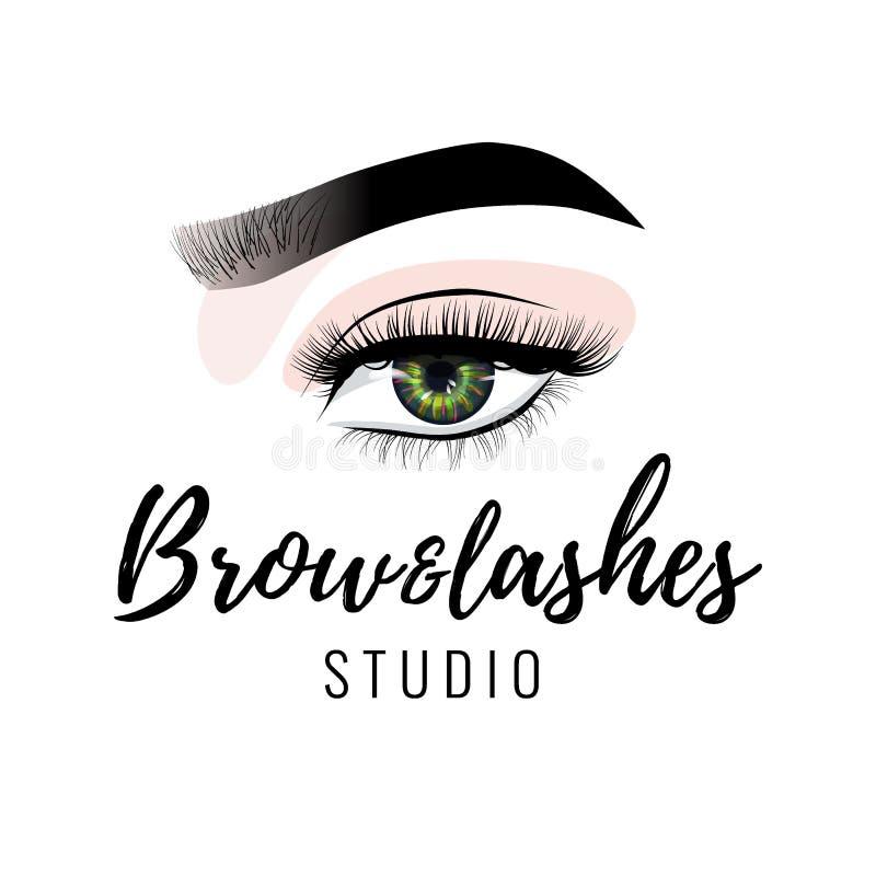 Ögonbryn- och ögonfransstudiologo, härlig perfekt ögonmakeupdesign, långa svarta snärtar, vektor royaltyfri illustrationer