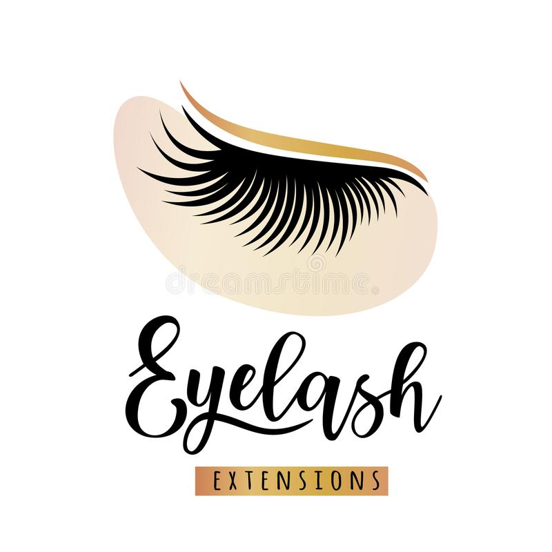 Ögonfransförlängningslogo med ögonlappen royaltyfri illustrationer