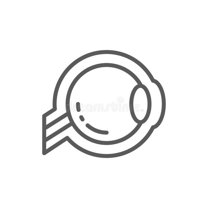 Ögonglob linje symbol för optisk nerv stock illustrationer