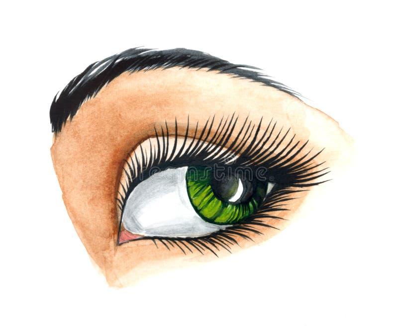 ögonkvinnlig royaltyfri illustrationer