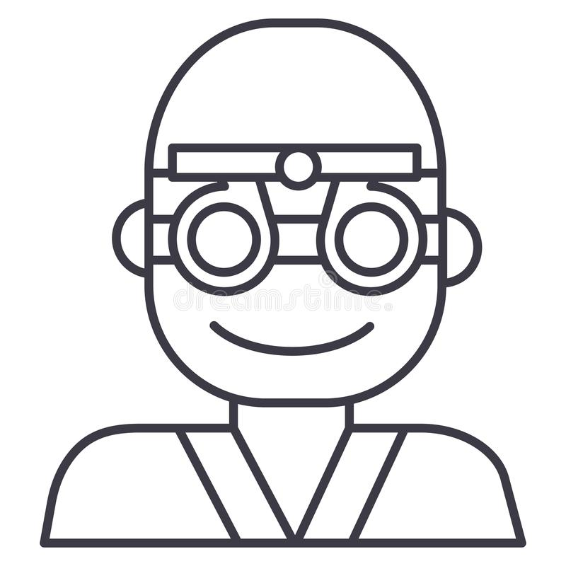 Ögonläkare ögonläkare, linje symbol, tecken, illustration för vektor för ögondoktor på bakgrund, redigerbara slaglängder stock illustrationer