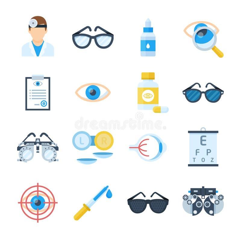 Ögonläkareutrustningsymboler i en plan stil stock illustrationer