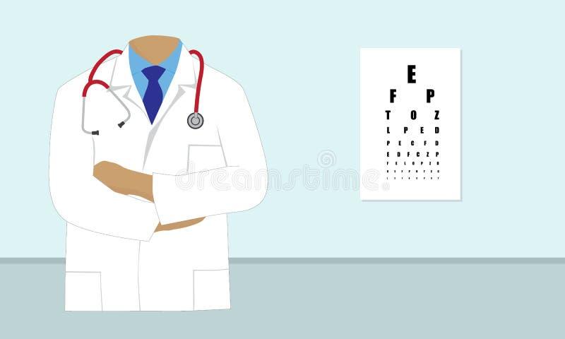 Ögonläkarevektor med synförmågaprovdiagrammet royaltyfri illustrationer