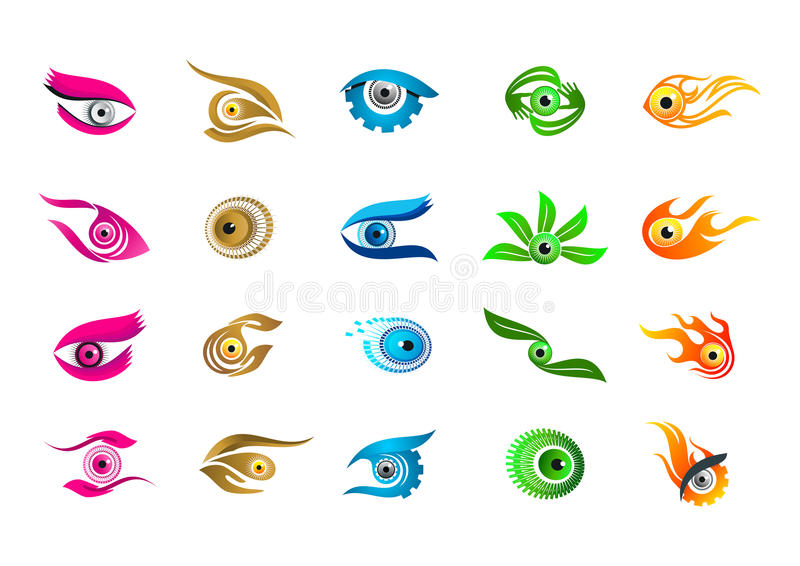 Ögonlogo, design för visionbegreppssymbol royaltyfri illustrationer