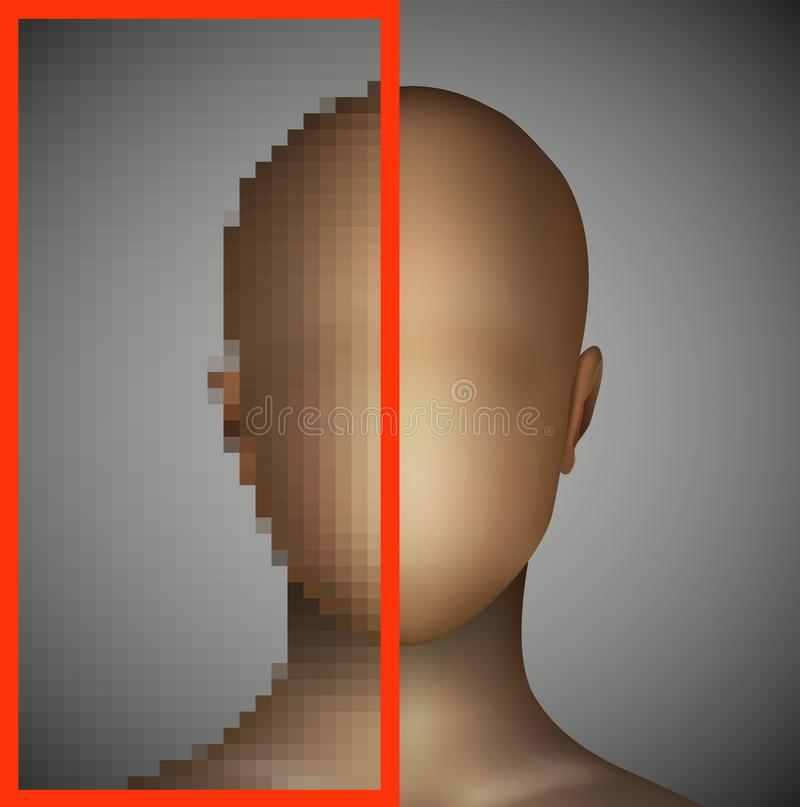Ögonproblemsuddighet fokusOS-sikten, skarp siktsidé, stock illustrationer