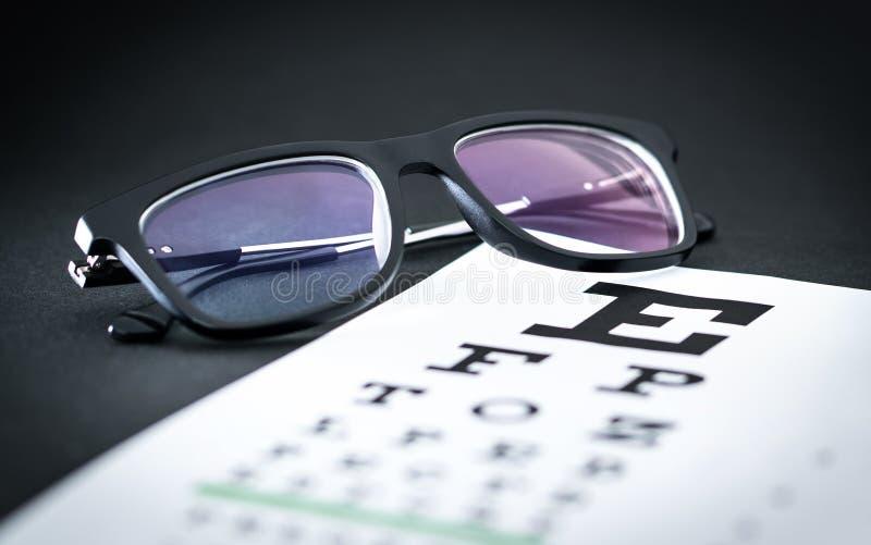 Ögonprov och siktexamenbegrepp Exponeringsglas på bokstavsdiagram arkivbild