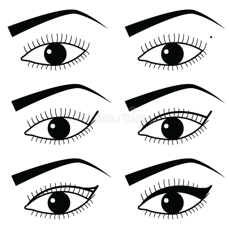 Ögonsminkteknik med bruk av eyeliner i orubblig metod 2, enkla svartvita ögonsymboler för asiatisk stil stock illustrationer