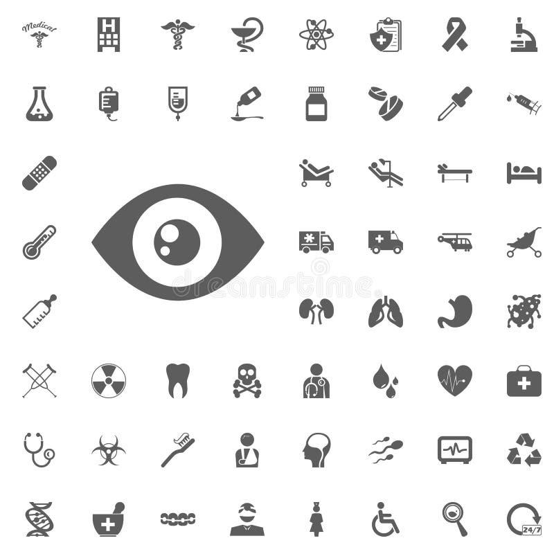Ögonsymbol Uppsättning för läkarundersökning- och sjukhussymbolsvektor vektor illustrationer