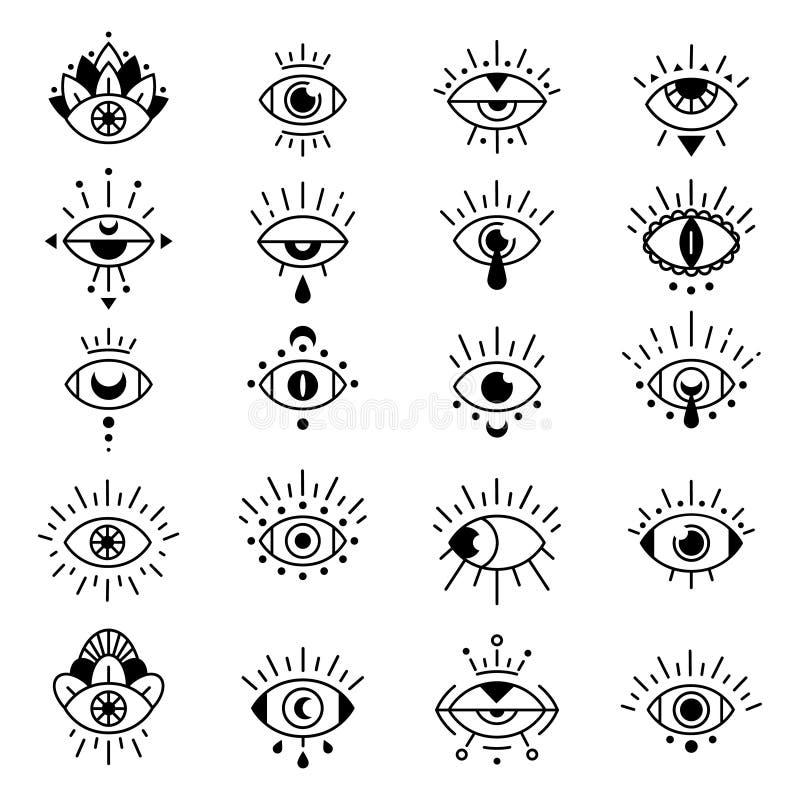Ögonsymboler Eviga ögontecken, dekorativ symbol för atchemisk tatuering, hipster occult style mystic amulet illustration vektor illustrationer