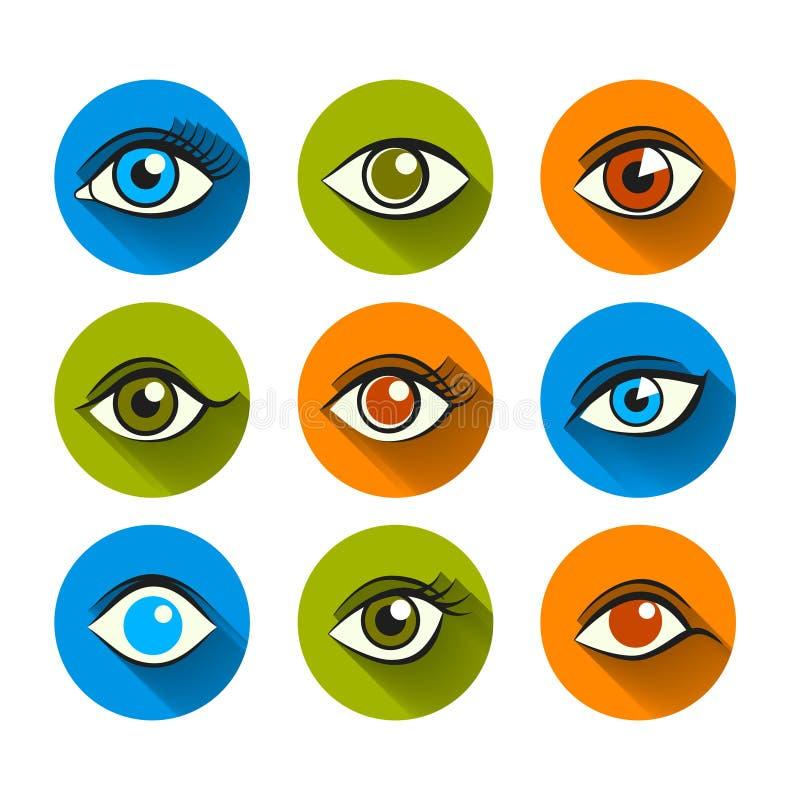 Ögonsymboler sänker uppsättningen stock illustrationer
