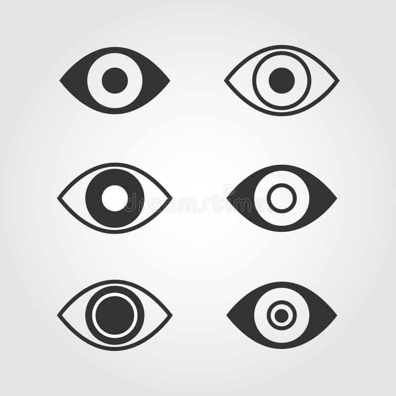 Ögonsymbolsuppsättning, lägenhetdesign royaltyfri illustrationer