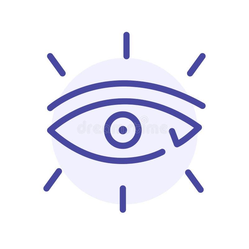 Ögonvektorlinje symbol, oftalmologitecken vektor illustrationer