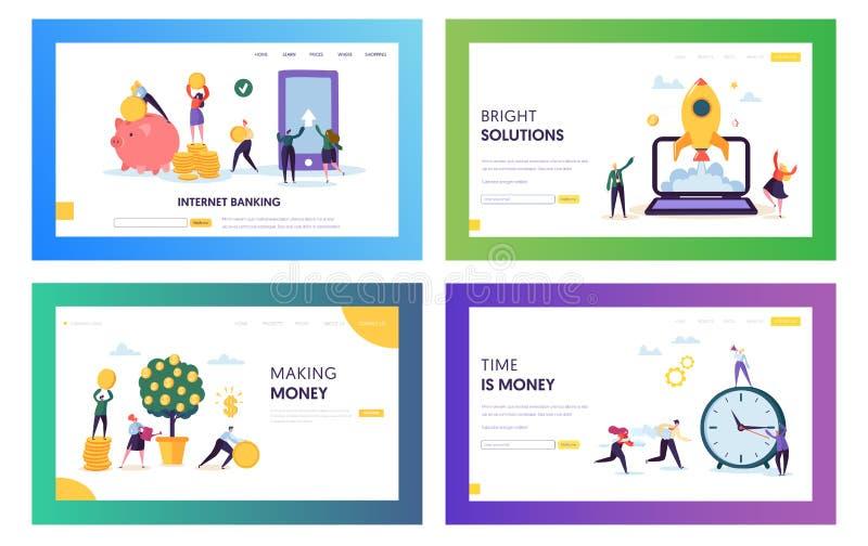 Öka egen huvudlanda sidauppsättning Den ljusa lösningen och den smarta primaa räddningen och tjänar pengar Konto för internetbank stock illustrationer