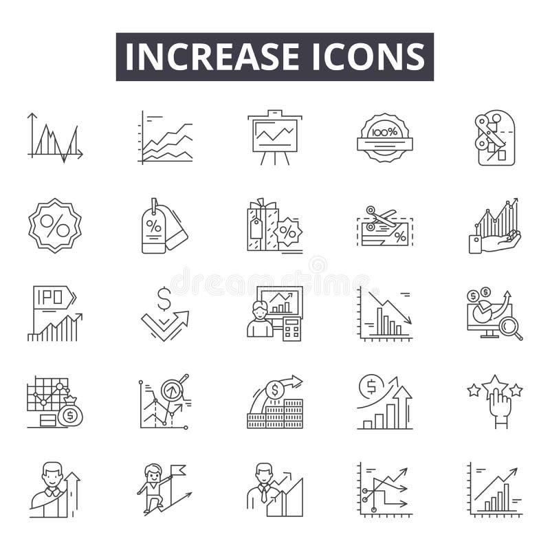 Öka linjen symboler för rengöringsduk och mobil design Redigerbart slaglängdtecken Öka översiktsbegreppsillustrationer stock illustrationer