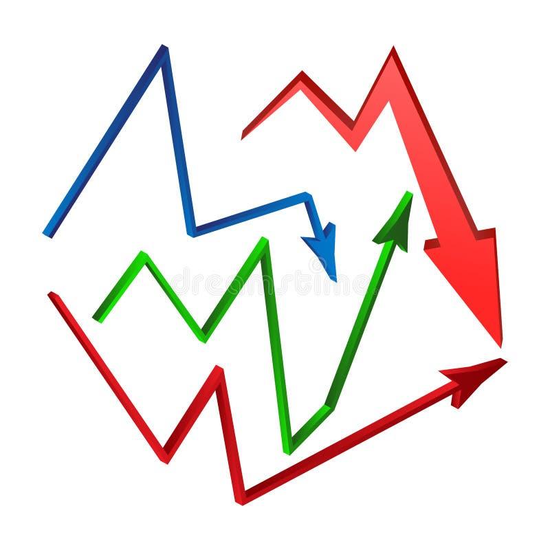 Öka uppsättningen för minskningpilsymbolet, symbolsaffärsidé white för vektor för bakgrundsillustrationhaj royaltyfri illustrationer