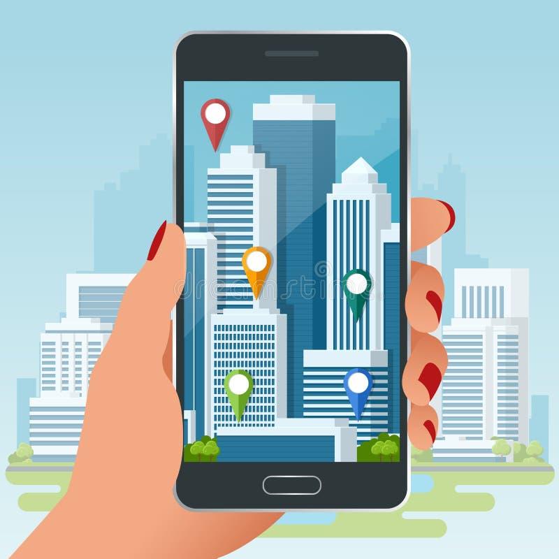 Ökad verklighet av det satellit- navigeringbegreppet för stad eller GPS Lopp-, turism- och lägeruttplanläggning vektor stock illustrationer