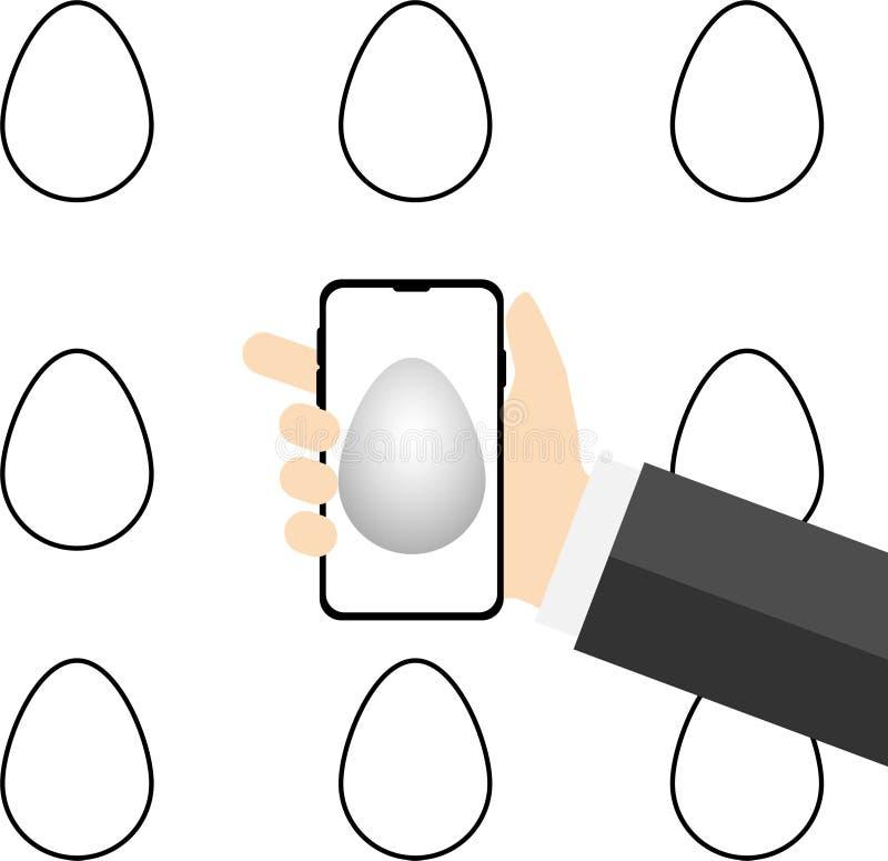 Ökad verklighet för ägg jakt med mobiltelefonen stock illustrationer