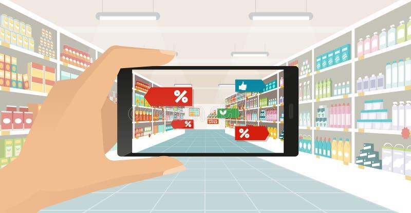Ökad verklighet- och livsmedelsbutikshopping vektor illustrationer