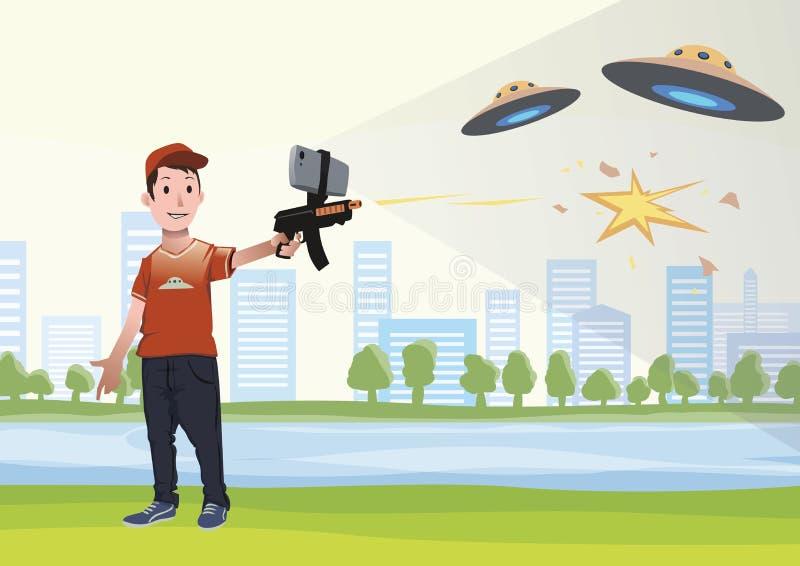 Ökade verklighetlekar Pojke med AR-vapnet som spelar en skytt Modigt vapen med mobiltelefonen också vektor för coreldrawillustrat vektor illustrationer