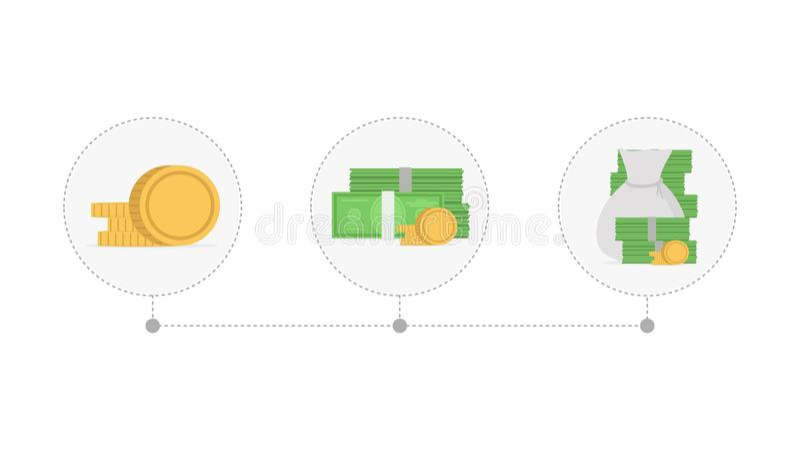 Ökande högar av mynt och pengar för tillväxtbild för begrepp 3d finansiell bärbar dator också vektor för coreldrawillustration vektor illustrationer