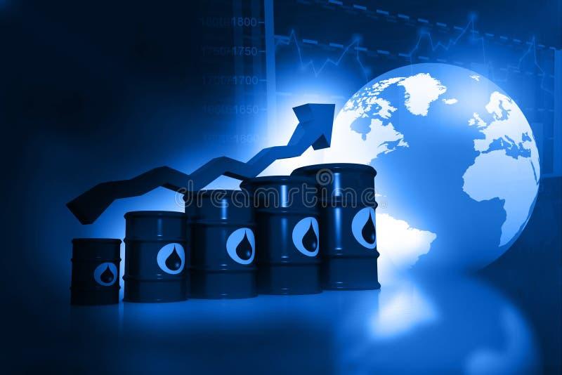 Ökande oljepris stock illustrationer