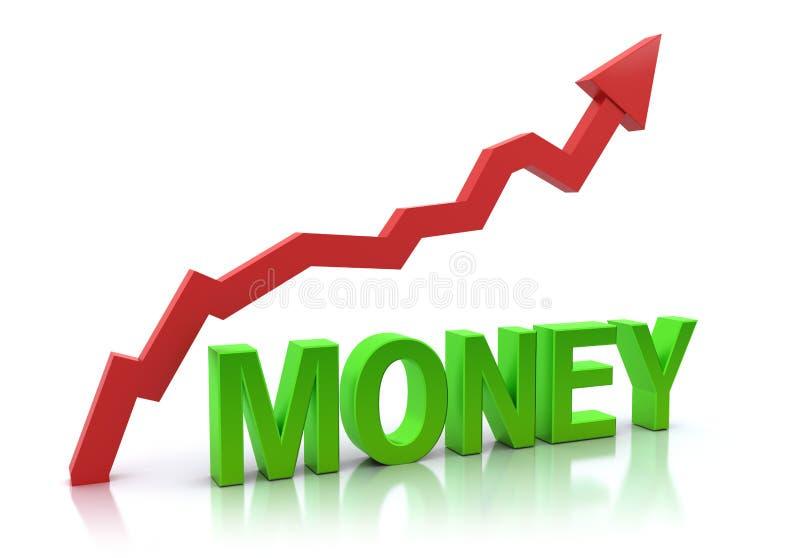 ökande pengar för graf stock illustrationer